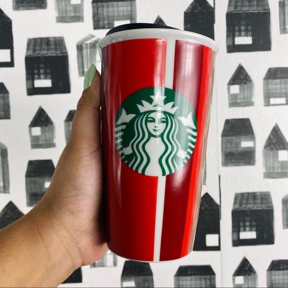 Starbucks | Holiday Striped Ceramic Tumbler